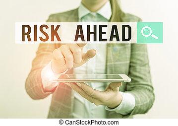 mobile, probabilité, business, perte, risque, concept, menace, ahead., woman., ou, abîmer, responsabilité, blessure, téléphone, texte, écriture, mot
