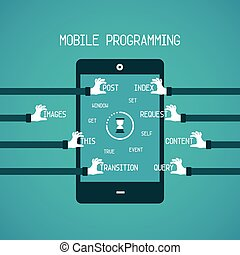 Mobile programming  concept in flat style