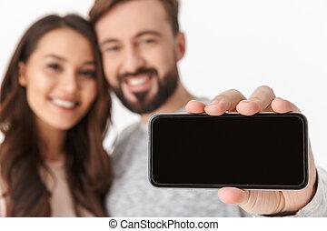mobile, projection, jeune, exposer, téléphone, aimer couple, heureux