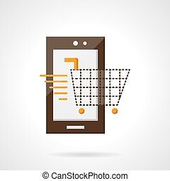 Mobile purchase flat color vector icon