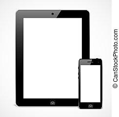 mobile, réaliste, ensemble, appareils, gabarit