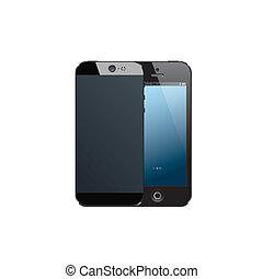 mobile, réaliste, noir, téléphone