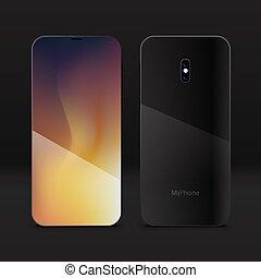 mobile, réaliste, smartphone, 3d, téléphone