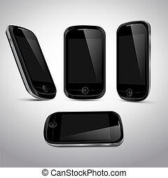 mobile, réaliste, téléphone, vecteur, templ