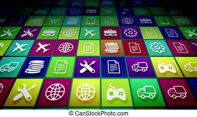 mobile, résumé, app, icônes