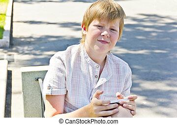 mobile, ragazzo, panca, telefono, seduta