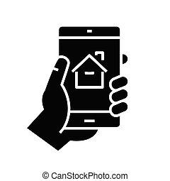 Mobile real estate app black icon, concept illustration, vector flat symbol, glyph sign.
