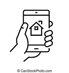 Mobile real estate app line icon, concept sign, outline vector illustration, linear symbol.