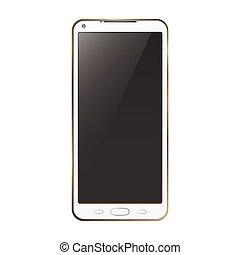 mobile, realistico, smartphone, telefono