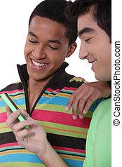 mobile, regarder, écran, adolescents, téléphone