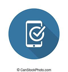 Mobile Register Icon. Online Learning. Flat Design.