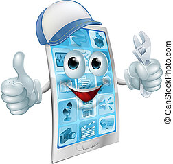 A cartoon mobile phone repair mascot with a cap and spanner doing a thumbs up