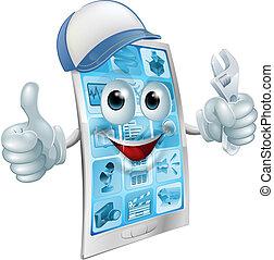 Mobile repair character - A cartoon mobile phone repair ...