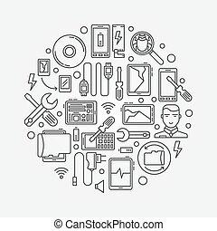 Mobile repair illustration - vector mobile smart-phone and...