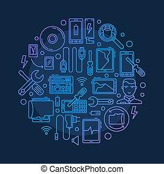 Mobile repair vector round illustration - Mobile repair...