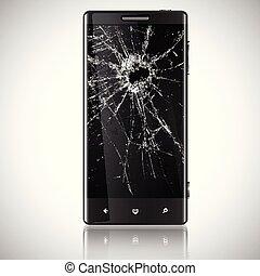mobile, rotto, vettore, telefono