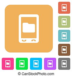 Mobile rounded square flat icons
