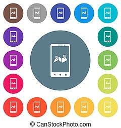 Mobile routing flat white icons on round color backgrounds