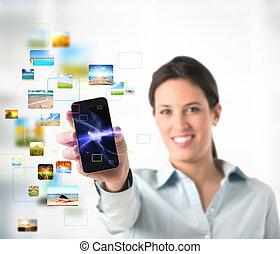 mobile, ruisseler, téléphone
