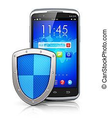 mobile, sécurité, concept, protection données