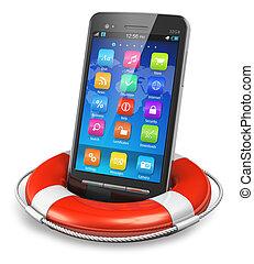 mobile, sécurité, et, services secours, concept
