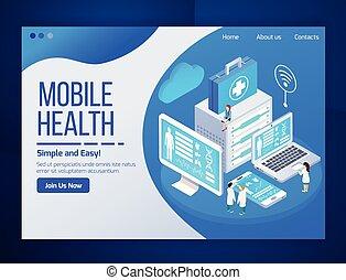 mobile, santé, isométrique, conception