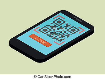 Mobile Scan QR Code - minimalistic illustration of a...