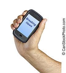 """mobile, schermo, etichetta, news"""", telefono, """"breaking,..."""