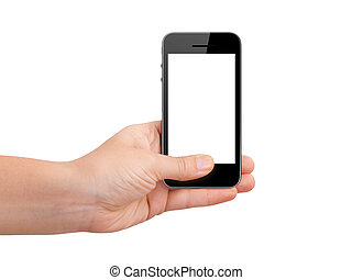 mobile, schermo, mano, telefono, presa a terra, vuoto
