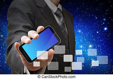 mobile, schermo, mano, telefono, tocco, uomo affari