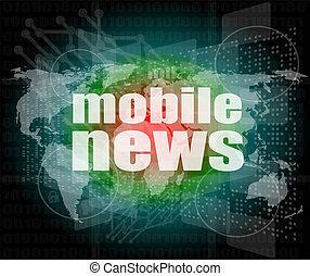 mobile, schermo, parole, digitale, premere, notizie, concept: