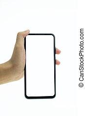 mobile, screen., main, téléphone, tenue, vide