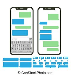 Mobile Screen Messaging Vector. Chat Bot Bubbles Set. Mobile App Messenger Interface. Communication Concept. Smartphone With Chat On Screen. Empty Text Boxes. Notification Icons. Isolated Illustration