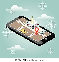 Mobile searching. Looking for bar or wine shop. Snow winter day. Waiting for a Christmas and New Year. Isometric mobile and white wine. Geo tracking. Map. City life