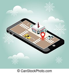 Mobile searching. Looking for bar or wine shop. Snow winter day. Waiting for a Christmas and New Year. Isometric mobile and wine. Geo tracking. Map. City life