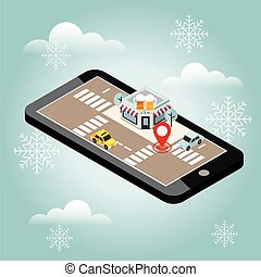 Mobile searching. Looking for bar. Snow winter day. Waiting for a Christmas and New Year. Isometric mobile and beer. Geo tracking. Map. City life