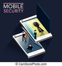 mobile security concept flat 3d isometric infographic