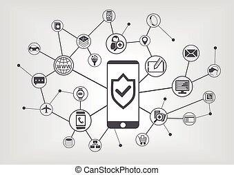 Mobile security concept for smart phones. Vector illustration background with connected IT symbols