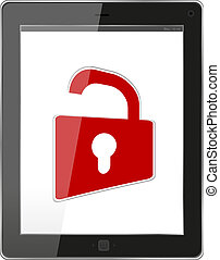 Mobile Security concept. Tablet PC with Lock on a white background