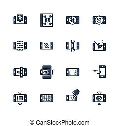 Mobile Security Vector Icon Set in Glyph Style