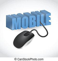 mobile, segno, collegato, a, topo, illustrazione