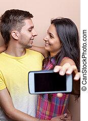 mobile, selfie, jeune, téléphone, prendre, couple
