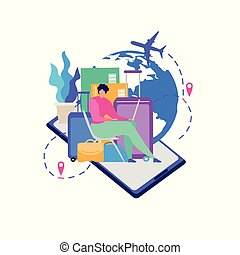 Mobile Service for Travelers Flat Vector Concept
