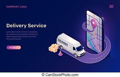 mobile, service livraison, ligne, app, isométrique