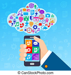 Mobile services cloud - Mobile phone services poster with...