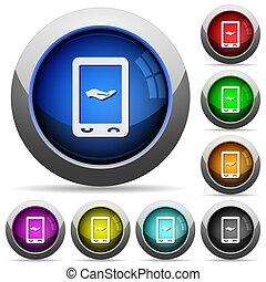 Mobile services round glossy buttons