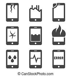 mobile, set., abîmer, téléphone, vecteur, icône