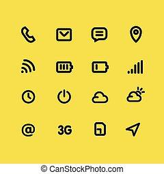 mobile, set., apps, jaune, vecteur, fond, interface, ligne, icône