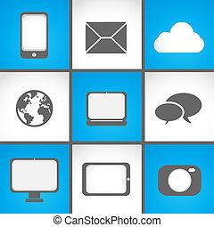 mobile, set, congegni, icona