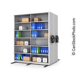Mobile shelving, archivs. 3d illustration